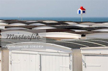 France, Normandie, Le Havre, cabane de plage