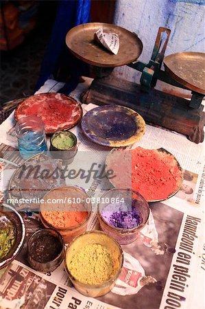 Marokko, Marrakech, Souk, Chemische Reinigungen, Pigmente