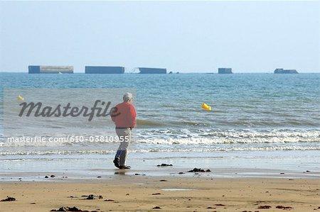 France, le port artificiel d'Arromanches, Normandie