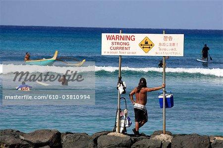 États-Unis, Hawaï, l'île de Oahu, Waikiki beach