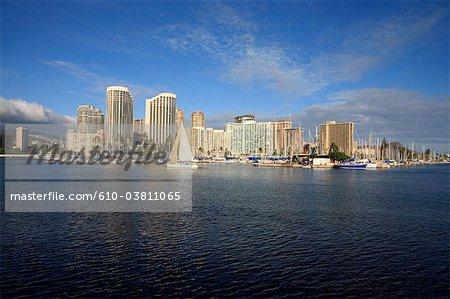 États-Unis, Hawaï, l'île de Oahu, Waikiki beach, port