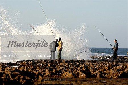 Morocco, Tiznit, Aglou beach, fishermen