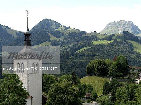 Église paroissiale de St. Théodule Steeple, Gruyères, Canton de Fribourg, Suisse