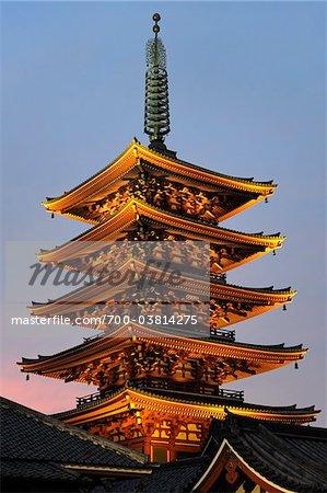 Le Temple Senso-Ji pagode, Tokyo, Kanto, Honshu, Japon