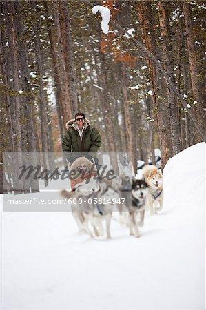 Couple Dog Sledding, Frisco, Summit County, Colorado, USA