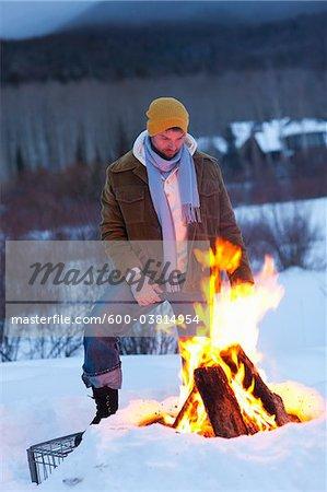 Man at Campfire, Frisco, Summit County, Colorado, USA
