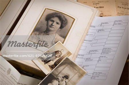 vintage family photo album and documents