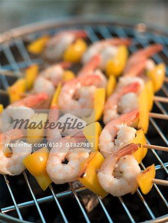 Skewer with grilled shrimps and pepper, Sweden.