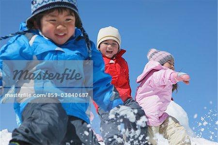 Children Throwing Snow