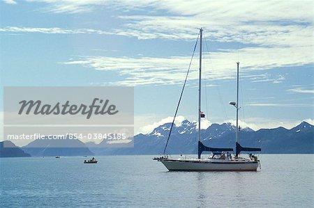 View of a sailboat on a sunny day in Resurrection Bay, Seward, Kenai Peninsula, Southcentral Alaska,Summer