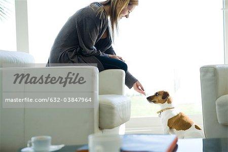 Laisser le chien renifler sa main de femme