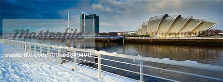 Vue panoramique de Clyde Auditorium et de la rivière Clyde, Glasgow, Écosse