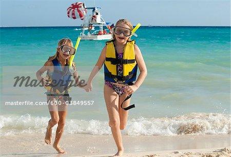 Girls in Snorkeling Gear on Beach, Reef Playacar Resort and Spa, Playa del Carmen, Mexico