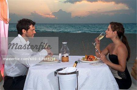 Couple Dining on Beach, Reef Playacar Resort and Spa, Playa del Carmen, Mexico