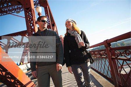 Couple on Bridge, Portland, Multnomah County, Oregon, USA