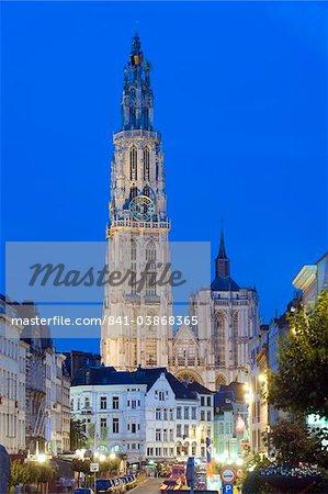 Tower of Onze Lieve Vrouwekathedraal illuminated at night, Antwerp, Flanders, Belgium, Europe