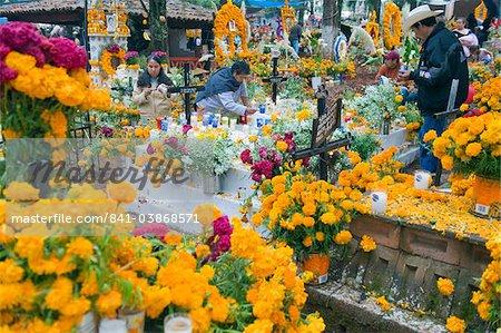 A flower covered grave, Dia de Muertos (Day of the Dead) celebrations in a cemetery in Tzintzuntzan, Lago de Patzcuaro, Michoacan state, Mexico, North America