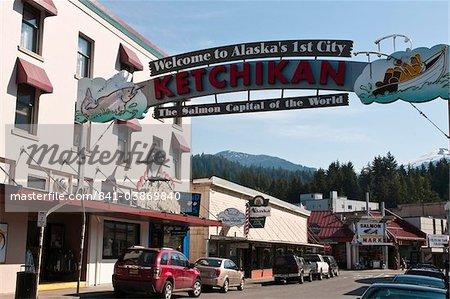 Main Street Ketchikan, sud-est de l'Alaska, États-Unis d'Amérique, Amérique du Nord