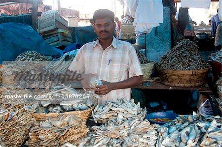 Dry fish for sale, Chalai Market, Trivandrum, Kerala, India, Asia