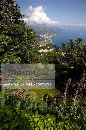 Les jardins de la Villa Cimbrone à Ravello, côte amalfitaine, l'UNESCO World Heritage Site, Campanie, Italie, Europe