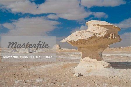 Érosion éolienne des sculptures de roche riche de calcium, le désert blanc près Baharia, Egypte, Afrique du Nord, Afrique