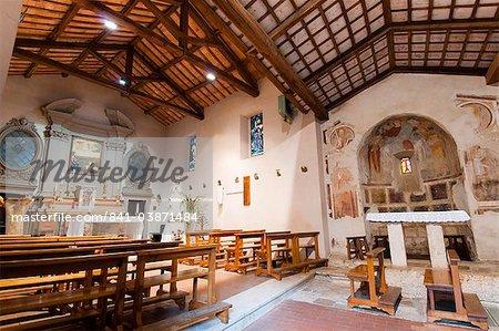 Church of St. Fabiano, Franciscan sanctuary of La Foresta, Rieti, Lazio (Latium), Italy, Europe