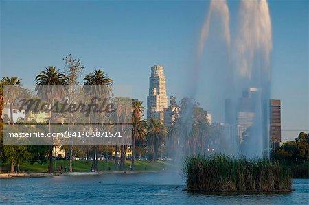 Skyline du centre-ville de Echo Park, Los Angeles, Californie, États-Unis d'Amérique, l'Amérique du Nord