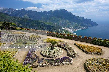 View from Villa Rufolo Gardens, Ravello, Amalfi, UNESCO World Heritage Site, Campania, Italy, Europe