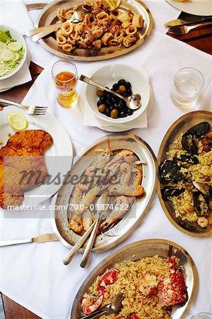 Varietyt der Meeresfrüchte-Gerichte auf den Tisch