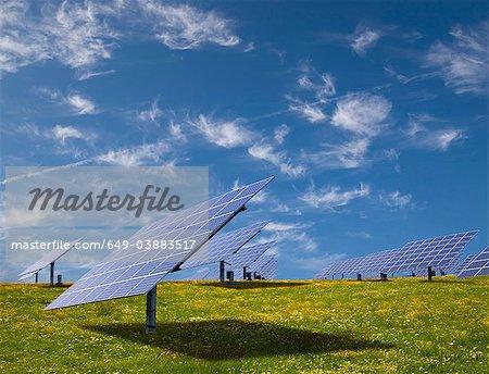 Panneaux solaires dans le champ