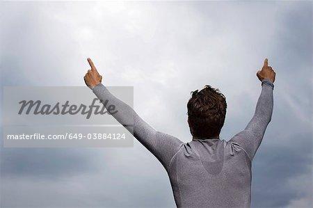 Runner cheering outdoors