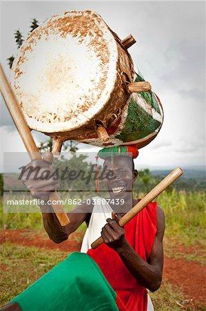 Gitega, Burundi. The traditional Tambourinares perform at Gitega museum.