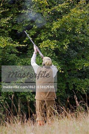 UK. Dans le Wiltshire. Un homme tire son fusil de chasse lors d'une séance d'entraînement perdrix.