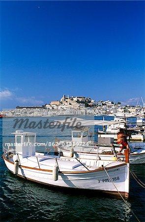Fishing boats in the port of Ibiza-Town, Ibiza, Balearic Islands, Spain