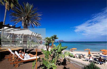 Bar de la plage de Corralejo, Fuerteventura, îles Canaries, Espagne