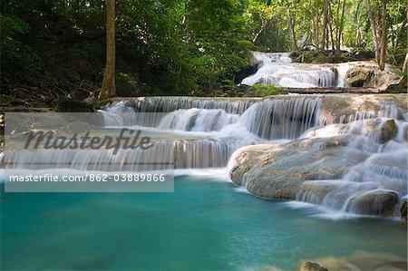 Thailand, Kanchanaburi, Kanchanaburi.  Erawan falls in the Erawan National Park.