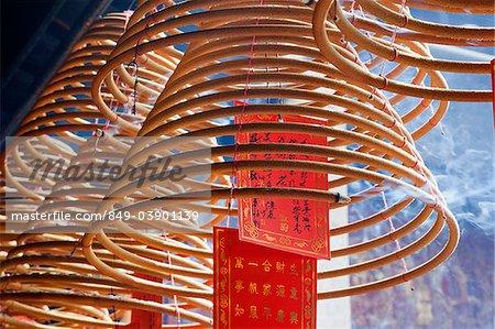 Sam Kai Vui Kun Temple, bobines d'encens, Macau, Chine