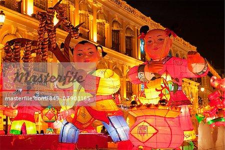 Décorations de lanterne chinoise de Macao, Macao, Chine