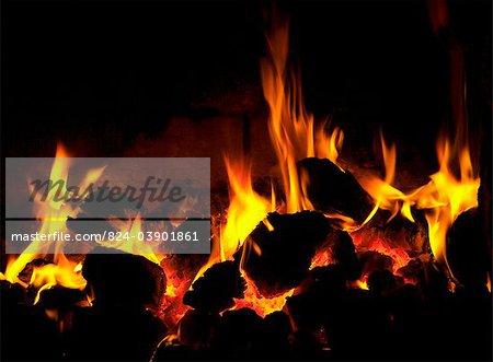Barbeque flames hot coals fire