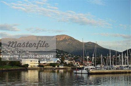 Sandy Bay et le mont Wellington, Hobart, Tasmania, Australie