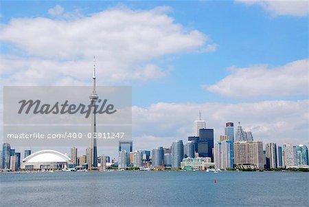 Toronto city skyline on a bright summer day