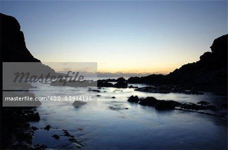 Peaceful Coastline at Sunset