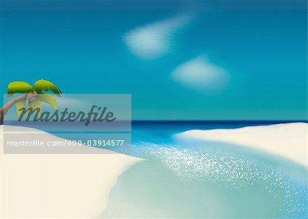White beach - Highly detailed cartoon background 62 - illustration