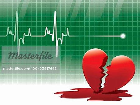 A lifeline in an electrocardiogram and a broken heart