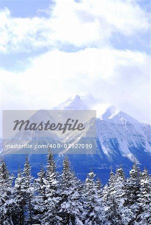Snowy mountain in Canadian Rockies in winter