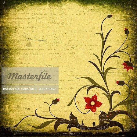 grunge floral design with decorative textured background