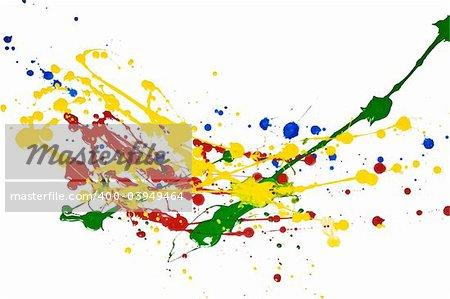 Paint splashed over white background