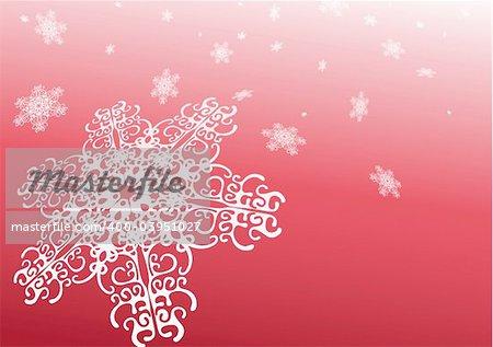 Conception surréaliste de flocons de neige. Fond abstrait rouge avec des flocons de neige. Illustration vectorielle.