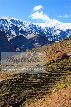Terrace Fields and Mountain Village, High Atlas Mountains, South of Marrakesch, Morocco