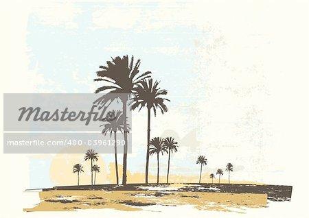 Illustration vectorielle du lever du soleil sur la côte de l'océan. Style grunge